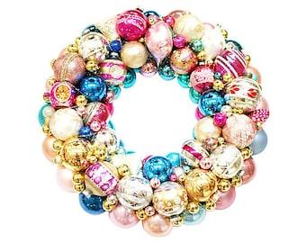 Ornament Wreath, Pink Ornament Wreath, Christmas Wreaths