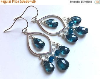 20% off FLASH SALE, Kyanite Chandelier Dangle Earrings, Sterling Marquis, Pear Cut Kyanite and apatite, Style: Captivating, Christmas gift
