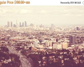 SALE Los Angeles photography, LA decor, Los Angelenos. urban cityscape skyline pale neutral peach California wall art downtown, Hollywood