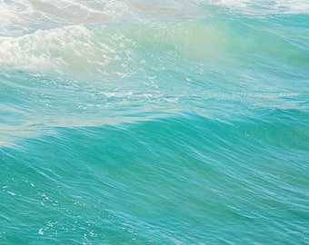 beach photography, peppermint blue winter decor, ocean wave, water, seaside, beach home, aqua blue, cyan, California art, Myan Soffia
