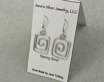 Silver Earrings Geometric Oxidized Lightweight Earrings