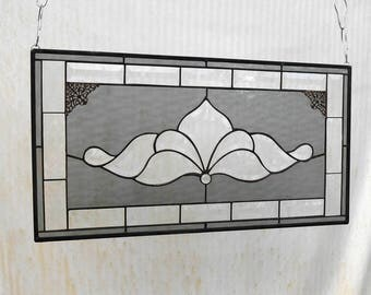 Traditional Vintage Look Victorian Stained Glass Panel Window Treatment with Bevel accents, Glass Window Valance, Stained Glass Transom