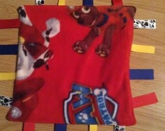 Paw Patrol, Red fleece, ribbon blanket