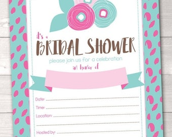 35% OFF SALE Instant Download Bridal Shower Invitation Aqua Blue & Pink Spotty Dots and Flowers Printable PDF