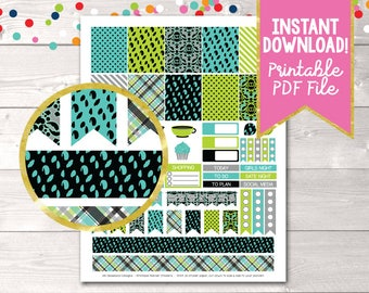 Instant Download Printable Planner Stickers Girls Night Out in Aqua Blue & Green Weekend Banners Wine To Do Checklists Shopping