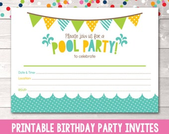 Pool Party Printable Invitation Fill In Blank Invite Blue Yellow & Green Birthday Party or Pool Party Digital Design INSTANT DOWNLOAD PDF