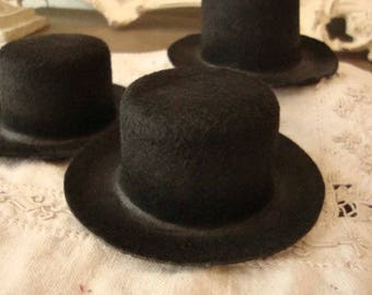 Mini top Hats black felt Christmas Caroler Hat body doll crafts supplies Victorian style hats DIY party favors snowman hat acessories