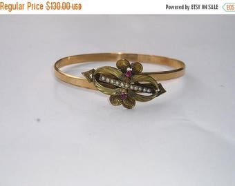ON SALE Victorian Gold Filled Bypass Ruby Seed Pearl Bracelet