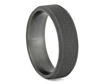 Simple Titanium Wedding Band With Sandblasted Finish And Beveled Edges, Masculine Ring