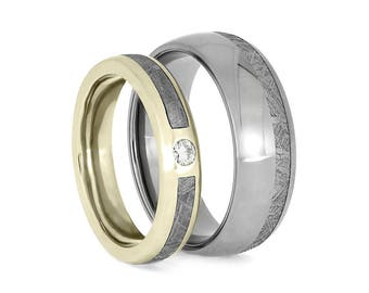 Meteorite Ring Set With White Gold And Titanium Wedding Bands