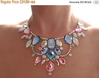 ON SALE Elegant Pink and Blue Rhinestone Bib Necklace, Pastel Rhinestone Statement Necklace, Cotton Candy Illusion Necklace, Illusion Jewelr