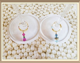 Swarovski Crystal wine charms (set of 2) , champagne toasters, wedding wine glass charms, his and her charms, wedding toast pink blue charms