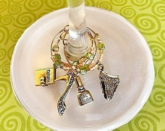 Girlie Wine Charm Set of 4, wine glass charms, purse heels wine charms, gift for girls, wine accessories gift, housewarming gift, hostess