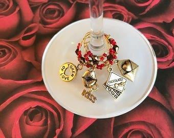 I Love You wine charm set of 4, Valentine's Day wine glass charms