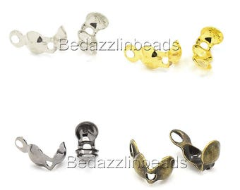 100 Assorted Bottom Clamp Clam Shell Bead End Tips With Closed Loop for Knots & Crimp Findings