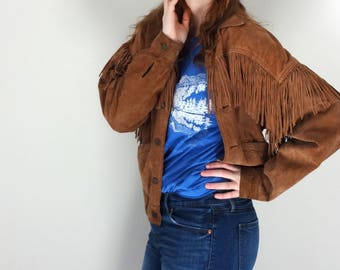 Vintage FRINGE Jacket • 1990s Clothing • Cropped Suede Leather Bomber Tassel Western Cowgirl Zero Coat • Unisex Women Men Small Medium Large
