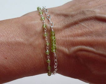 Double Strand Peridot Tassel Bracelet, Sterling Silver Peridot Gemstone Tassel Bracelet - Green Tassel Bracelet