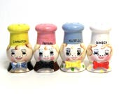 Cute Ceramic Chef Spice Jars, Set of 4 / Vintage Figural Shakers for Bakers/ Made in Japan