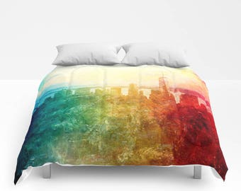 New York Duvet Cover, Abstarct Manhattan bedding, unique design, modern, urban comforter cover, bedroom, city landscape bedding, dorm, teen