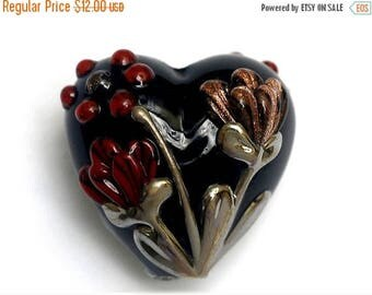 ON SALE 35% OFF Copper Shadow Heart Focal Bead 11834005 - Handmade Glass Lampwork Beads