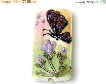 ON SALE 30% off Glass Lampwork Bead - Pink Sparkle Garden Butterfly Kalera Focal Bead 11834803