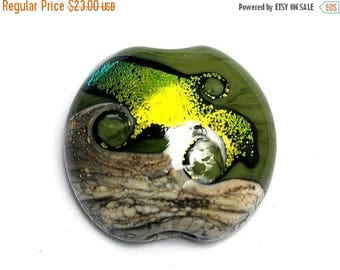 ON SALE 30% off 11834202 Olivine Lentil Focal Bead - Handmade Glass Lampwork Beads