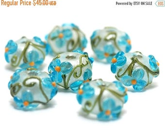 ON SALE 30% off Handmade Glass Lampwork Bead Sets  - Seven Maya Blue Flower Rondelle Beads  - 10411301
