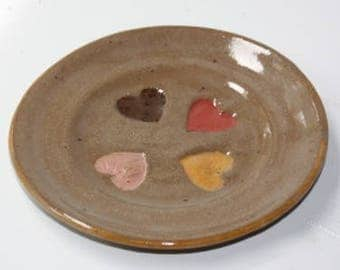 Valentine  Stoneware Friendship Plate with embossed multi colored hearts
