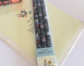 Nathalie Lete -  Pencil Set - Artist Gift - Draw Something - Set of 3 -  Rabbit and flowers