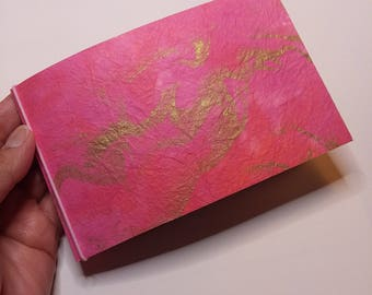 mini photo album - pink and gold marbled print