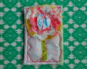 Rustic Stitched Posie Brooch Ready to Ship FREE SHIP YelliKelli