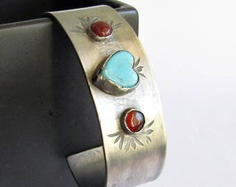 Hand Stamped Kingman Turquoise Heart Cuff with Carnelian - December Birthstone - Sterling Silver Stamped Cuff Bracelet