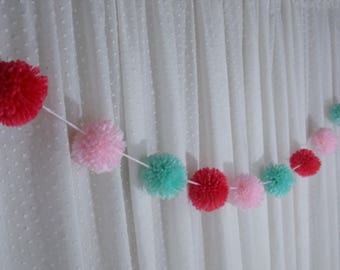 Pom Pom Garland, Pink Party Decoration, Blush Pink, Aqua and Coral Party Decor, Yarn Pom Pom Garland, Baby Shower Decor