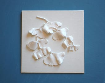 RESERVED LISTING for Andrea - 2 x Ginkgo Leaves Wall Sculpture - 3D Ginkgo Biloba Clay Wall Art White on White Wall Tile