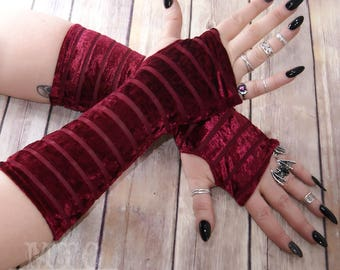 Gothic striped burnout Velvet arm warmers fingerless gloves with thumb holes MTcoffinz  MTC