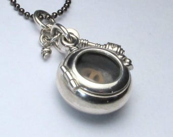 Steampunk lockets STEAM BUBBLE octopus proof locket sterling silver and quartz with optional gunmetal brass ball chain
