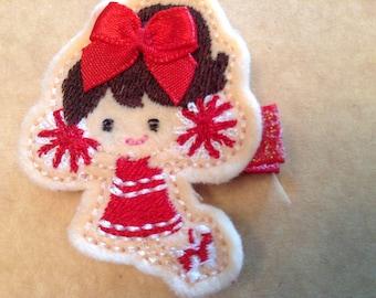 Cheerleader Hair Clip, Red & White Cheerleader Hair Clip, Girls Hair Clip, Felt Hair Clip, Toddler's Hair Clip (Item 16-294)