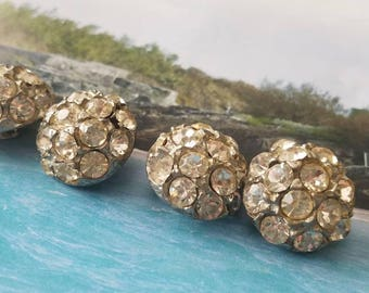Vintage Buttons -4 matching beautiful antique silver metal, rhinestones, domed Rays design 1950's (lot June 41 17)