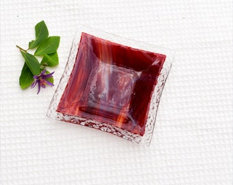 Fused glass dish, red, clear, stripe