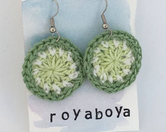 Crochet round circle green earrings bridesmaid Mother's Day gift for her