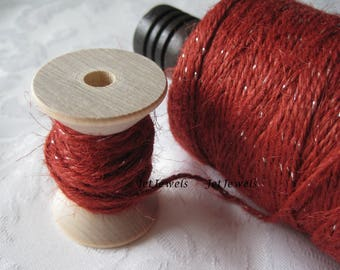 25 Yards Jute Twine, Natural Jute, Natural Twine, Red Jute, Red Twine, Colored String, Gift Wrapping, Gift Wrap, Rustic, On Wood Spool