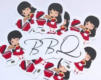 Die Cut Ephemera BBQ Barbecue Cookout Chibi girls