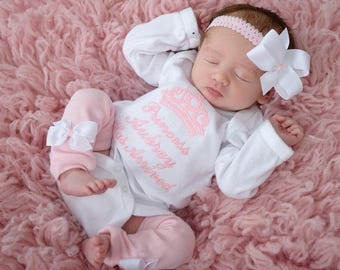 Baby Girl Coming Home Outfit Clothes Bodysuit or Gown Newborn Leg Warmers Bow Headband Personalized Princess Has Arrived Take Home Clothes