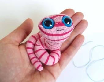 Pink worm plush puppet pocket toy stripes