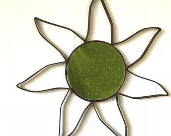 iron sun wall mirror - rustic metal boho farmhouse decor - flower starburst - rusty patina