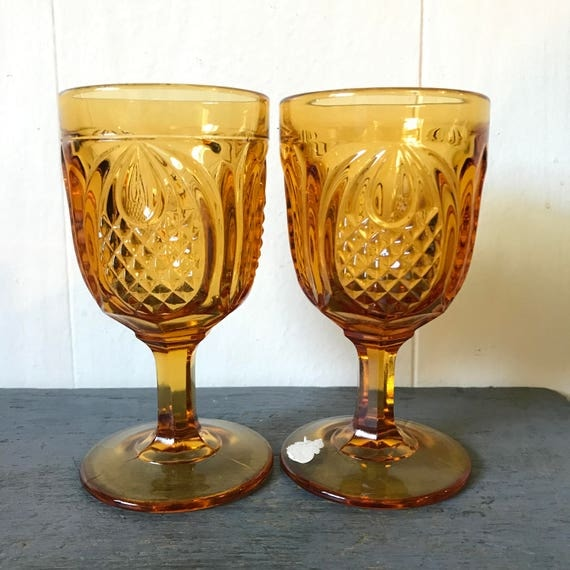 vintage amber pressed glasses - Fenton Colonial Pineapple water glass - jewel tone stemware - boho wedding
