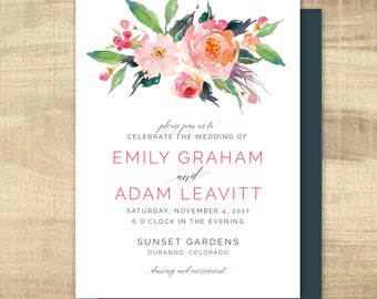 wedding invitation, wedding invitation, custom wedding invitation, watercolor wedding invitation and insert - custom colors available
