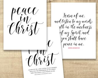 2018 LDS Youth Theme - Peace in Christ - Printable files All Sizes INSTANT DOWNLOAD - D&C 19:23