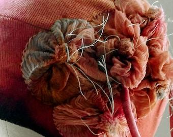 Dark Pink Raspberry Cotton Cloche Hat _Silk Flower Bouquet Side Detail