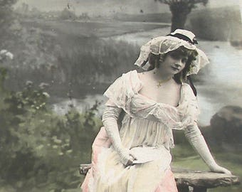 1900s French postcard, Lady with a letter, RPPC real photo postcard.